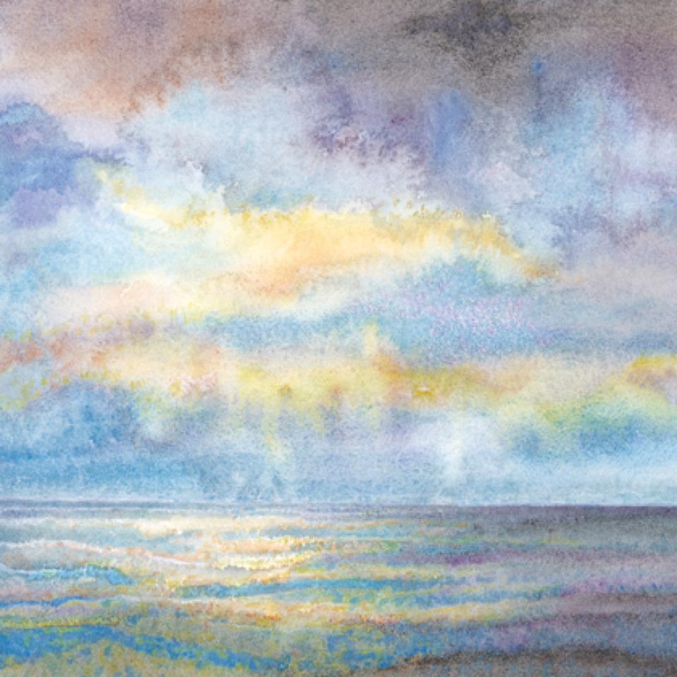 Sunrise at sea watercolour-960
